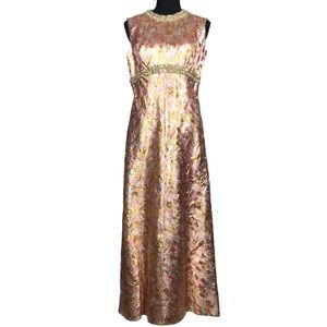 Vintage 60s Metallic Brocade Gown Maxi Dress